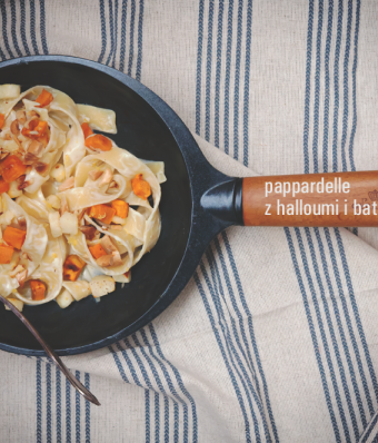 Pappardelle z halloumi i batatami