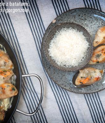 Makaronowe muszle z batatami, ricottą, szpinakiem i gorgonzolą