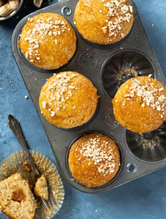 Muffinki z masłem orzechowym i dżemem